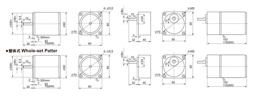4W~6W单相齿轮减速电机外形尺寸