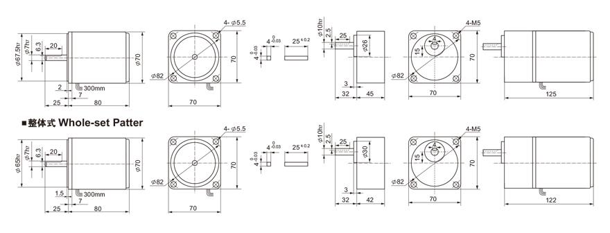 15W~19W单相微型齿轮减速电机外形尺寸