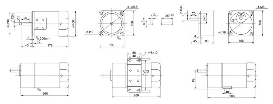 120W~140W单相齿轮减速电机外形尺寸