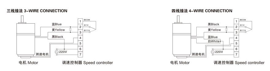 4W~140W单相调速电机接线图