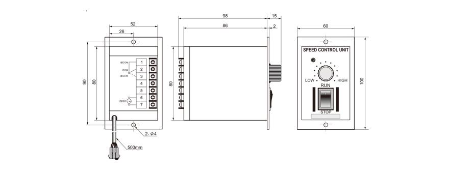 4W~140W单相调速电机调速控制器