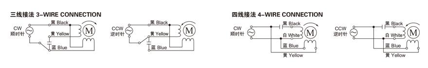 40W~140W微型单相感应电机接线图