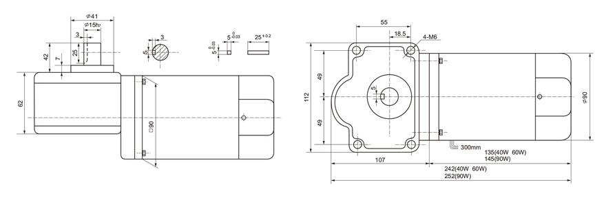 40W~90W单相微型涡轮减速电机外形尺寸