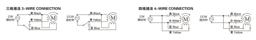 40W~90W单相蜗轮减速电机接线图