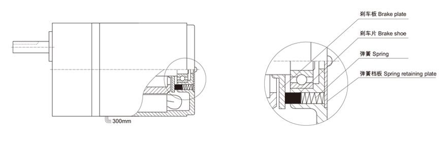 4w~30w附阻尼齿轮减速电机阻尼机构图