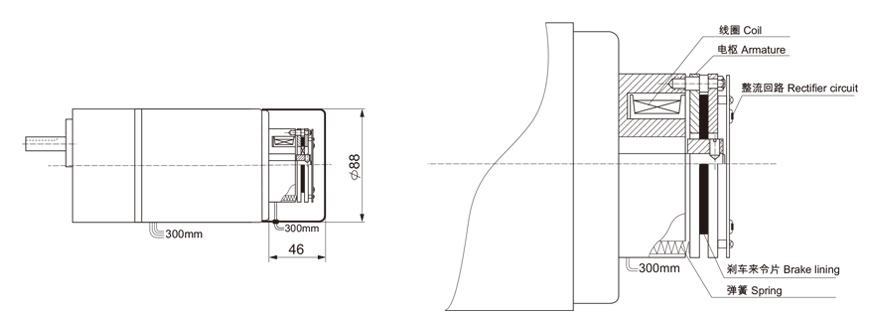 15W~120W单相附电磁刹车齿轮减速电机电磁刹车结构图