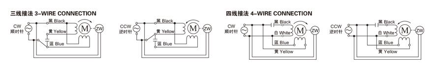 15W~120W单相附电磁刹车齿轮减速电机接线图