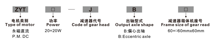 20W永磁直流齿轮减速电机型号命名