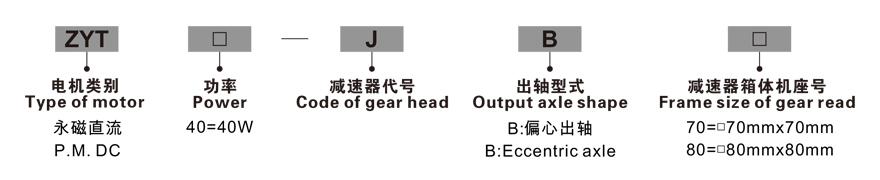 40W永磁直流齿轮减速电机型号命名