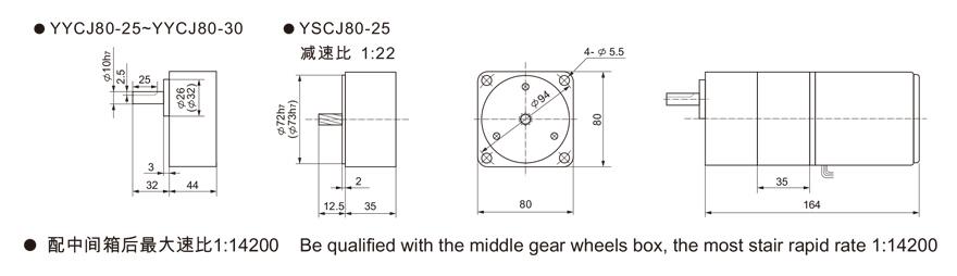 25W~120W附中间齿轮箱齿轮减速电机外形尺寸1