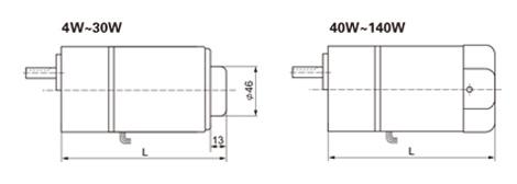 4W~140W微型调速电机尺寸图