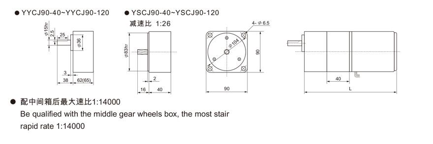 25W~120W附中间齿轮箱齿轮减速电机外形尺寸2