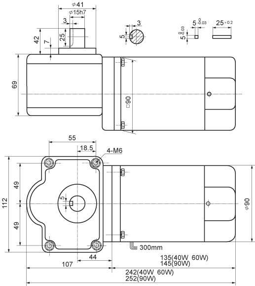 微型蜗轮电机YYWJ90-90设计图